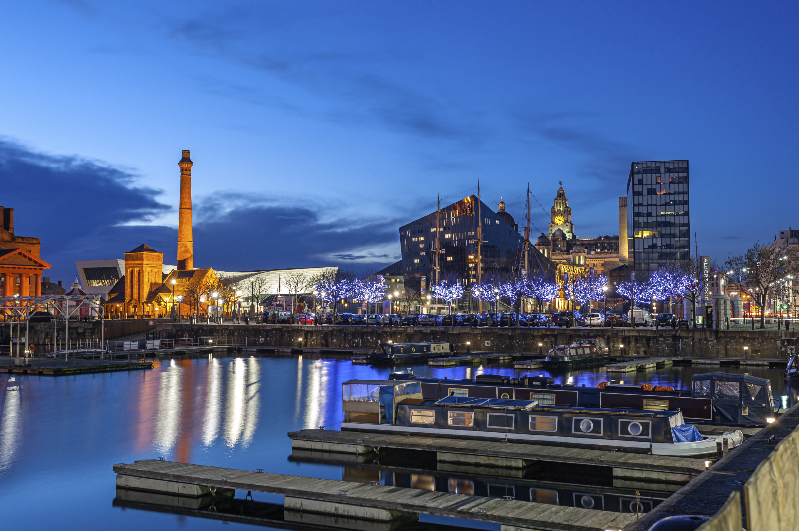 Liverpool skyline at the waterfront and famous landmark like liverpool museum, salt house and albert dock