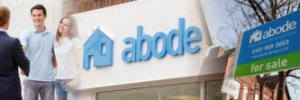 a mixed image containing a couple buying a home, the Abode shop front and a for sale sign