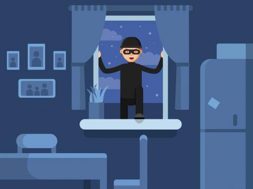 A cartoon image depicting a burglar breaking into a house through a window