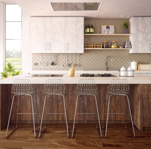 a modern kitchen with a breakfast bar and four bar stools