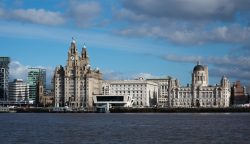 a view of liverpool's skyline from across the river mersey