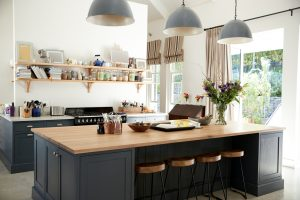 pendant lighting in a family kitchen