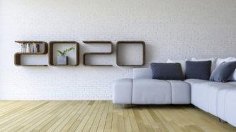 3d rendering image of 2020 shelf in living room
