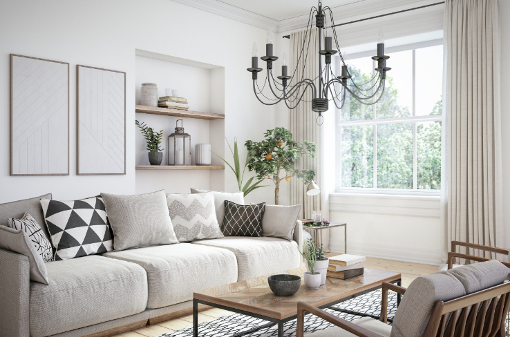 a neutral, tidy living room